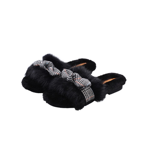 Open-toe Fluffy slippers with handmade bow
